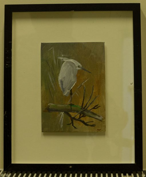 Framed and Glazed Egret