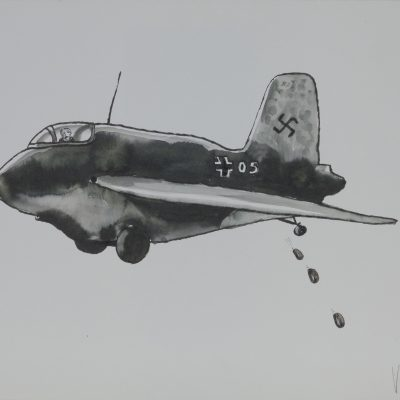 J I05 Airplane Water Colour