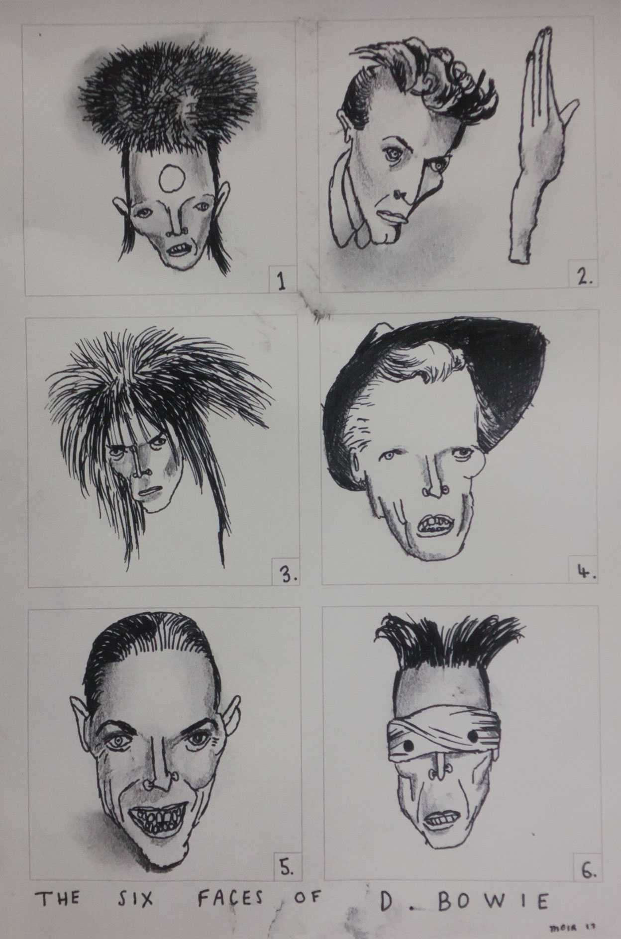 The Six Faces of David Bowie - Limited edition print by Vic Reeves